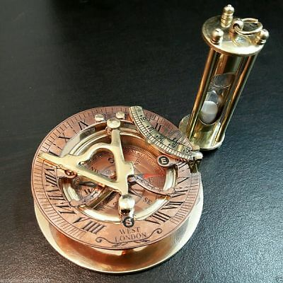Antique Brass Sundial Compass With Nautical Sand Timer Vintage Collectible Gift