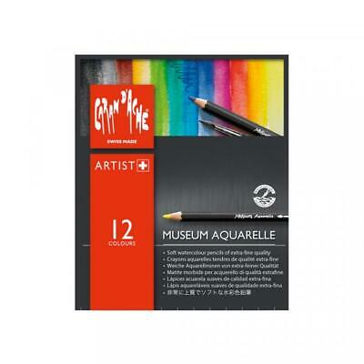 Caran D'Ache Museum Aquarelle Pencils - 12 Colours (Pack of 12) Watercolour