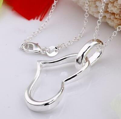 "Heart Love Silver Plated Pendant Necklace- 18"" / 45cm Long Chain"
