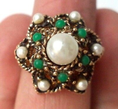 Stunning Vintage Estate Signed Sarah Cov Faux Pearl Adjustable Ring!!! 1769T