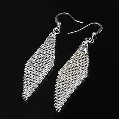 8 pairs Popular mesh Earrings silver Plated Elegant Women Lady Gift Jewelry