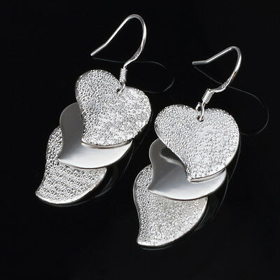 8pairs Pop Flash  heart-shaped Earrings silver Plated Elegant Lady gift Jewelry