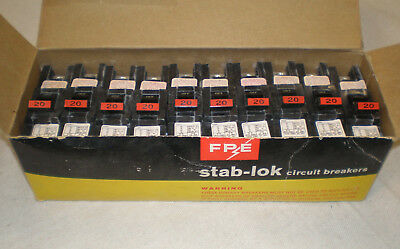 Federal Pacific FPE20 20A 1Pole Circuit Breakers (New-10 in Box)