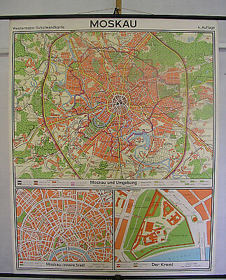 Schulwandkarte Moscow Moskow Stadtplan City Map 109x135cm 1972 Old Vintage Chart