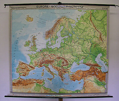 Physical Schulwandkarte Beautiful Old Europakarte 196x180cm W Germany GDR 1967