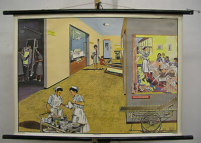 Schulwandkarte Wall Picture Hospital Doctor Gift Anniversary 90x64cm Vintage