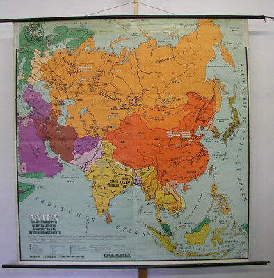 Schulwandkarte Asian Countries Economy 188x194cm ~ 1955 Vintage School Wall Map
