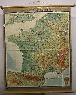 Schulwandkarte Wall Map School Map Map France La France F&b 1963 136x170