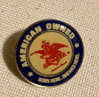 Vintage Anheuser Busch Beer Tie Hat Lapel Pin AMERICAN OWNED Born Brewed USA