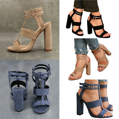 f62808e0d85 New Women s Ankle Strap Chunky Pump High Heel Sandals Party Dress Open Toe  Shoes