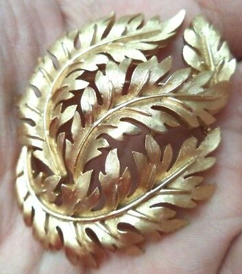 "Stunning Vintage Estate Signed Crown Trifari Leaf Flower 2 1/4"" Brooch!!! 1838P"
