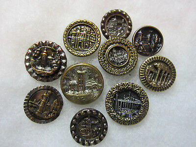 Lot Of 10 Small Antique/ Victorian Metal Building Picture Buttons