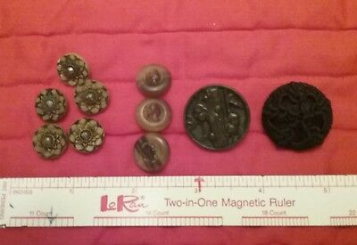 Lot of 10 Unique Vintage Buttons, hand knit, woodpeckers, steal center, camio