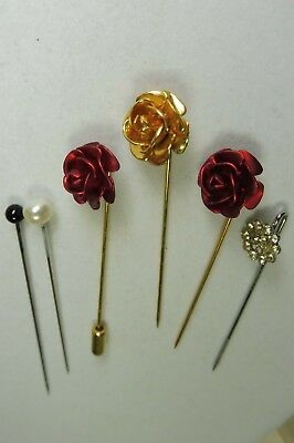 Lot of 6 Vintage Lapel Pins Red & Gold Roses, round clear rhinestone