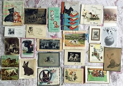 Job Lot Of Old Vintage Greeting Cards And Other Images Featuring Dogs