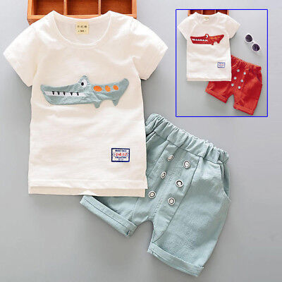 Outdoor Baby boy tops + short Soft Birthday Fall Kids Round neck Short sleeve