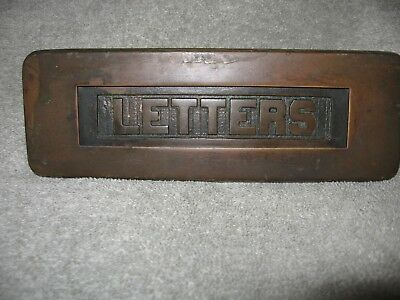architecture salvage Brass Letter Delivery Box FRONT Door Entry Mail Delivery