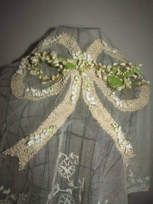 Stunning Antique Wedding Wax/Pearl Headdress and Embroidered Veil Large Bow Deta