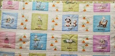 quilt baby handmade  nursery boy or girl Rabbits and carrots theme 40x40 cotton