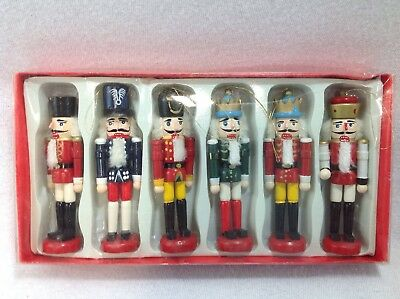 Set Of 6 Wooden Nutcracker Doll Soldier  Christmas Decor 4.5 in