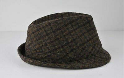 7e216891904 Harris Tweed Wool Mans Fedora Hat Small Medium 56 - 58 cm Plaid Brown Black