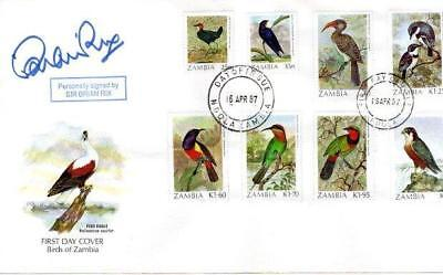 Zambia Birds Fdc 16-4-87 Signed Sir Brian Rix F1