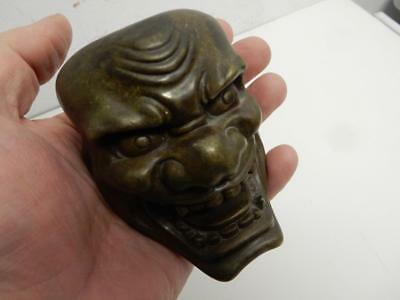 old BRONZE metal angry buddha FACE MASK ORIENTAL