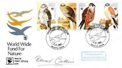 MALTA WWF for NATURE FDC 3-10-91 SIGNED BERNARD CRIBBINS F1