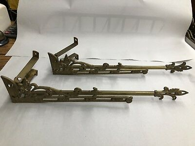 Antique Art Nouveau Curtain Rods Swingarms Mounting Brackets Tiebacks - 2