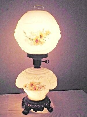 Gone With The Wind Vintage 3-Way Puffy Lionhead Globed Milk-Glass Hurricane Lamp