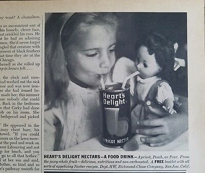 1956 heart's-delight apricot nectar juice blond little girl doll straws ad