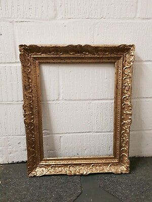 Antique ornate distressed picture frame gold