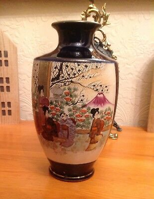 Antique Japanese Hand Painted Satsuma Vase - Formerly Used As A Lamp - See Desc