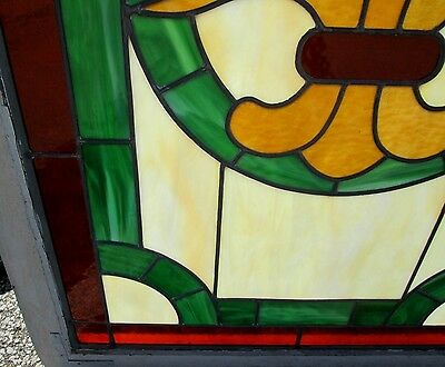 Antique Arts & Crafts Stained Glass Window W/ Pretty Medallion  Estate  # 493