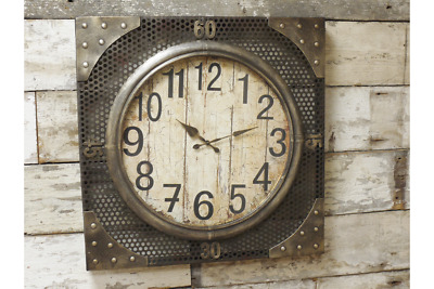 Industrial Vintage Style Square Metal Wall Clock