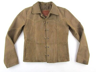 Lucky Brand Womens Brown Suede Leather Jacket SIZE SMALL