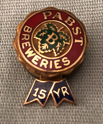 Vintage 14K Gold Pabst Blue Ribbon Beer 15 Year Service Pin Spies Bros