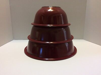 Set 3 Pyrex Vintage Clear Bottom Nesting Mixing Bowls Maroon Burgundy Dark Red