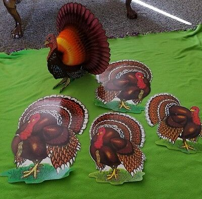 VINTAGE BEISTLE THANKSGIVING TURKEY  DIE CUT DECORATIONS honeycomb