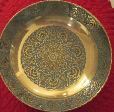 "Vintage India Hand Painted Brass Decorative Collector Plate Felt Case 9.5"" NEW"