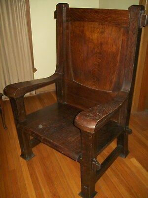 Antique Oak Mission Craftsman Awesome Arts & Crafts Gothic Throne Chair Unique!