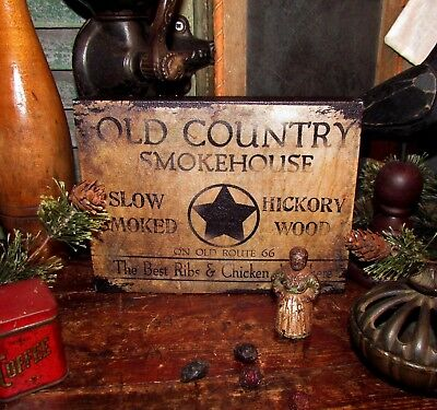 Primitive Vtg Style Retro Old Country Hickory Smoke House Route 66 Canvas Sign