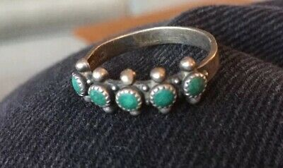 Old Silver & Turquoise Ring Vintage Native American Jewelry, Size 7.75
