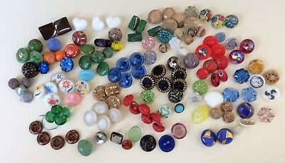 Fabulous Lot 136 Small & Diminutive Glass Buttons, Some Pairs & Sets
