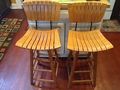 Antique Solid Wood Chairs Tall High Iron Set Of 2