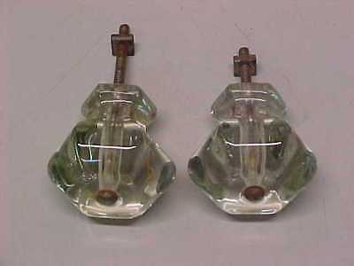 Pair Of Old Antique Vintage Large Size Solid Glass Drawer Knobs Pulls