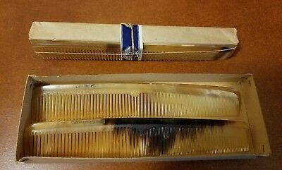 Original Box of 10 Antique Genuine Horn Combs Handmade in France early 1900s