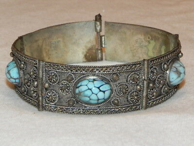 Vintage Turquoise Blue Cabochon Silver Panel Cannetille Bracelet Hand Made