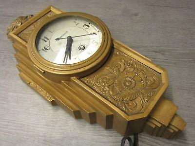 Vintage 1930 Manning-Bowman Art Deco Electric Wall Clock Parts Repair AS IS