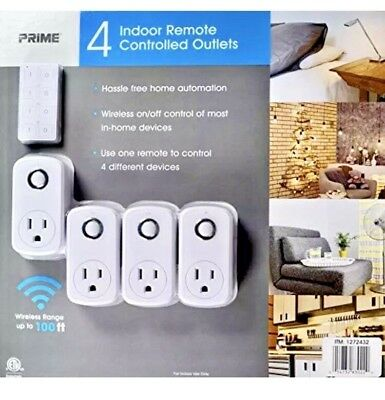 4 PACK Prime 4 Indoor Remote Controlled Outlets Wireless 100 ft range NEW